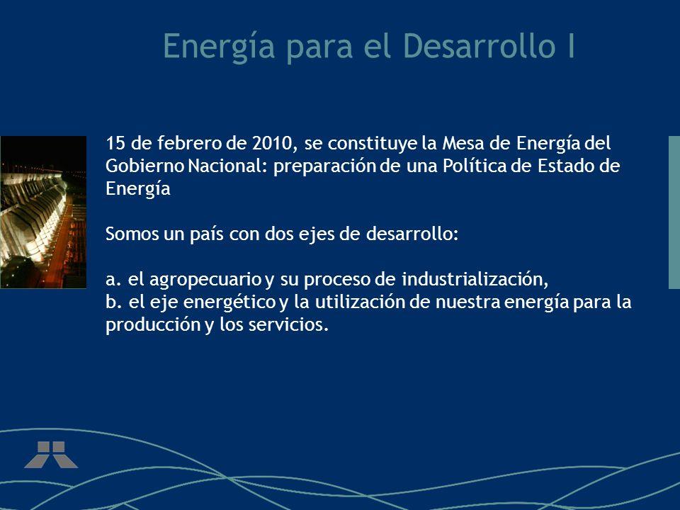 Energía para el Desarrollo I 15 de febrero de 2010, se constituye la Mesa de Energía del Gobierno Nacional: preparación de una Política de Estado de E
