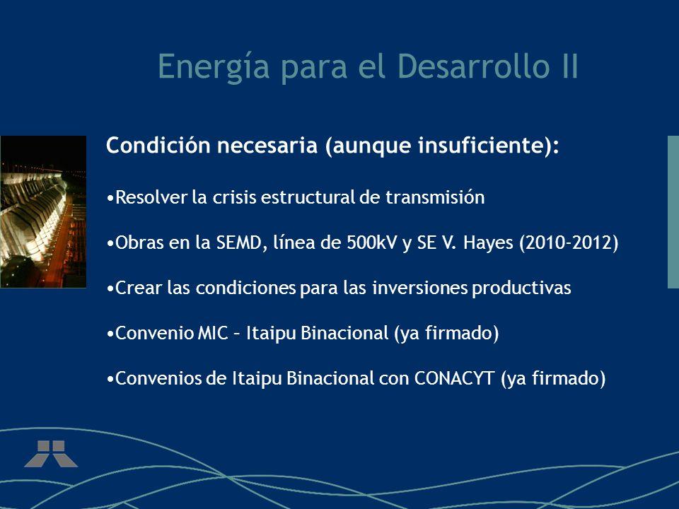 Energía para el Desarrollo II Condición necesaria (aunque insuficiente): Resolver la crisis estructural de transmisión Obras en la SEMD, línea de 500k