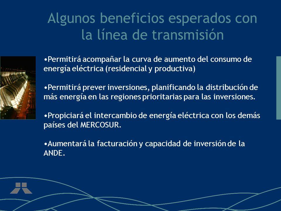 Algunos beneficios esperados con la línea de transmisión Permitirá acompañar la curva de aumento del consumo de energía eléctrica (residencial y produ