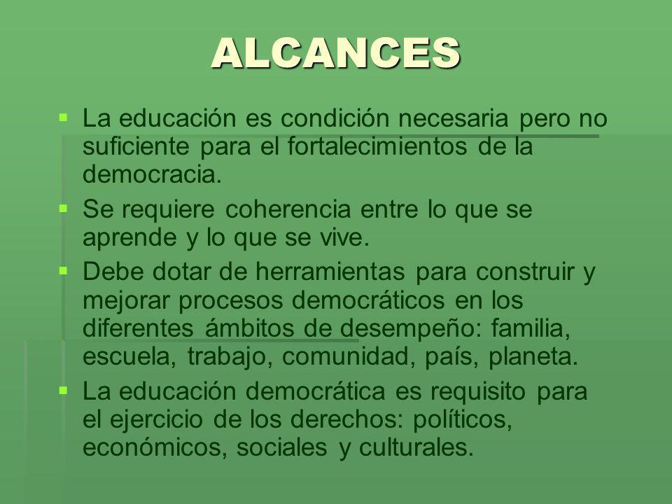 ALCANCES La educación es condición necesaria pero no suficiente para el fortalecimientos de la democracia. Se requiere coherencia entre lo que se apre
