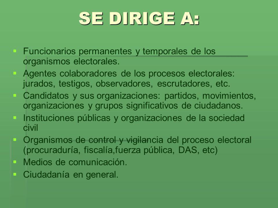 SE DIRIGE A: Funcionarios permanentes y temporales de los organismos electorales. Agentes colaboradores de los procesos electorales: jurados, testigos