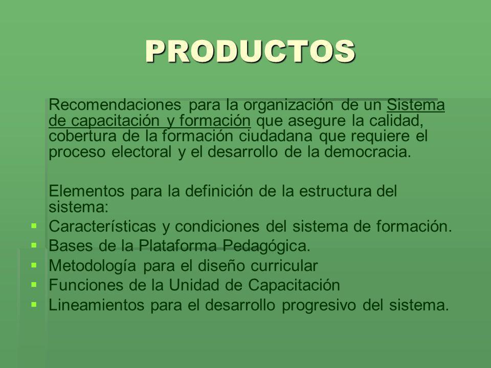 PRODUCTOS Recomendaciones para la organización de un Sistema de capacitación y formación que asegure la calidad, cobertura de la formación ciudadana q