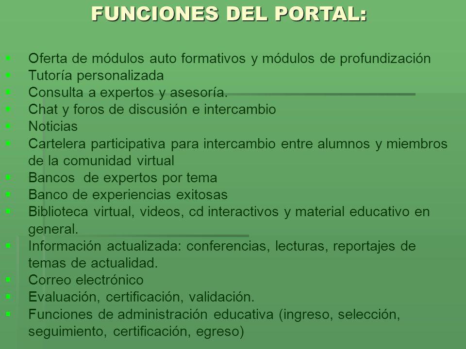 FUNCIONES DEL PORTAL: Oferta de módulos auto formativos y módulos de profundización Tutoría personalizada Consulta a expertos y asesoría. Chat y foros