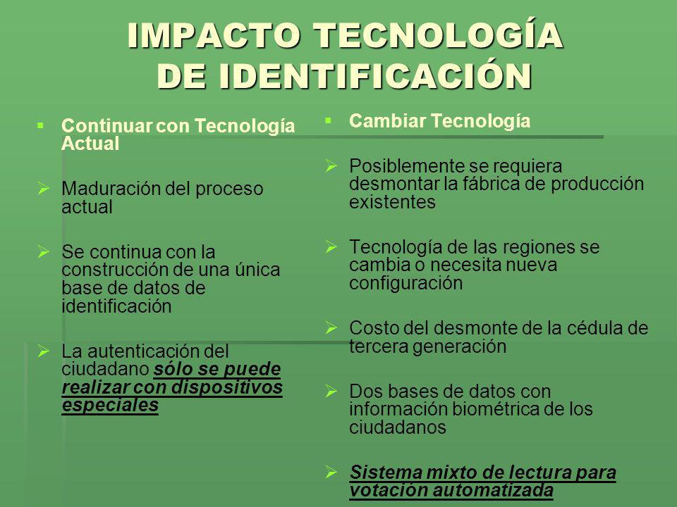 IMPACTO TECNOLOGÍA DE IDENTIFICACIÓN Continuar con Tecnología Actual Maduración del proceso actual Se continua con la construcción de una única base d