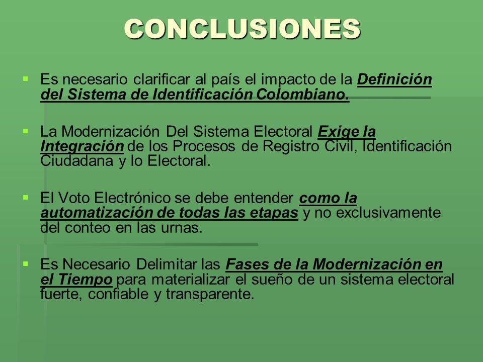 CONCLUSIONES Es necesario clarificar al país el impacto de la Definición del Sistema de Identificación Colombiano. La Modernización Del Sistema Electo