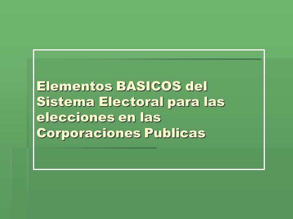 Elementos BASICOS del Sistema Electoral para las elecciones en las Corporaciones Publicas