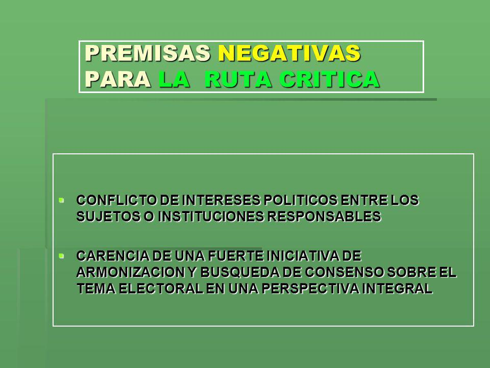 PREMISAS NEGATIVAS PARA LA RUTA CRITICA CONFLICTO DE INTERESES POLITICOS ENTRE LOS SUJETOS O INSTITUCIONES RESPONSABLES CONFLICTO DE INTERESES POLITIC