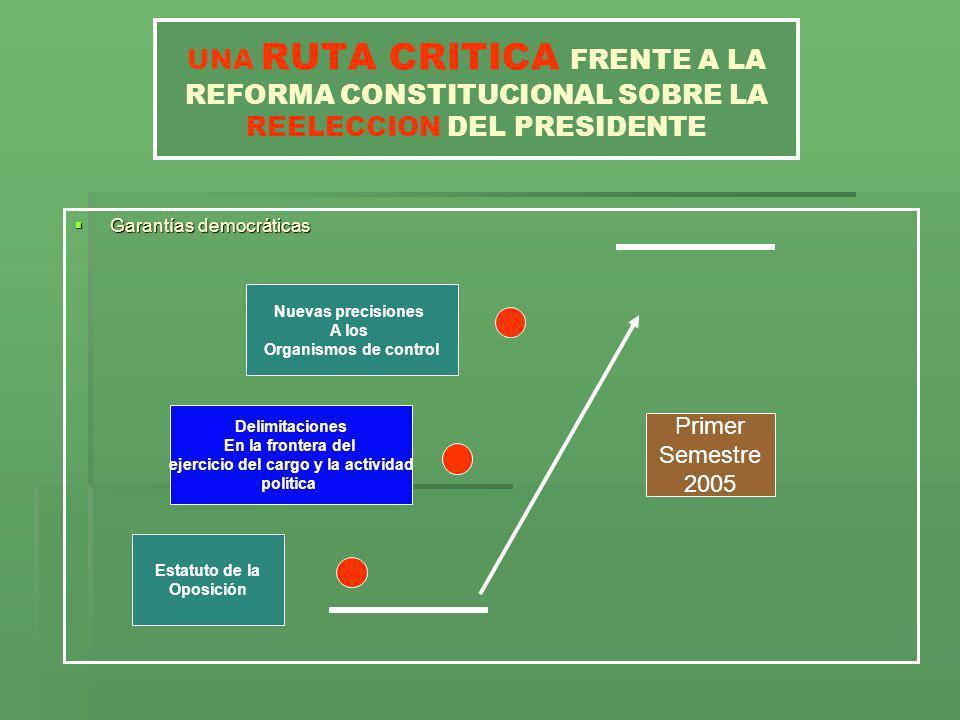 UNA RUTA CRITICA FRENTE A LA REFORMA CONSTITUCIONAL SOBRE LA REELECCION DEL PRESIDENTE Garantías democráticas Garantías democráticas Estatuto de la Op
