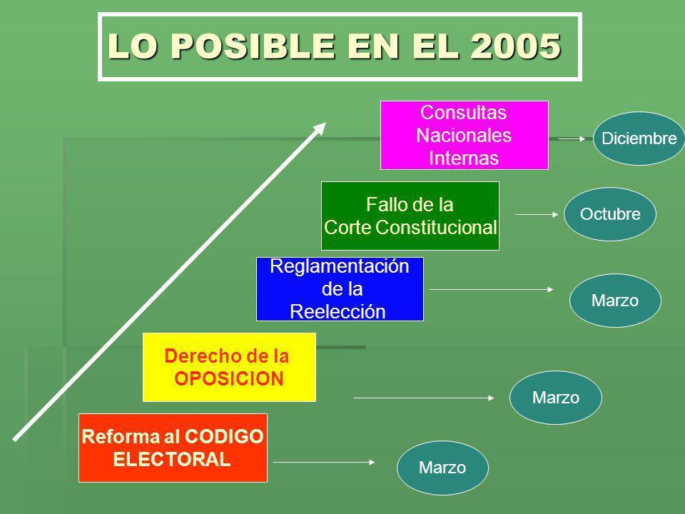 LO POSIBLE EN EL 2005 Derecho de la OPOSICION Reforma al CODIGO ELECTORAL Consultas Nacionales Internas Fallo de la Corte Constitucional Reglamentació