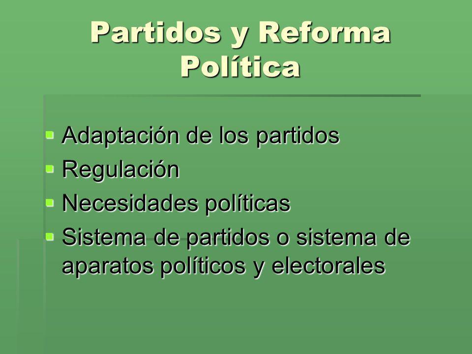 Partidos y Reforma Política Adaptación de los partidos Adaptación de los partidos Regulación Regulación Necesidades políticas Necesidades políticas Si
