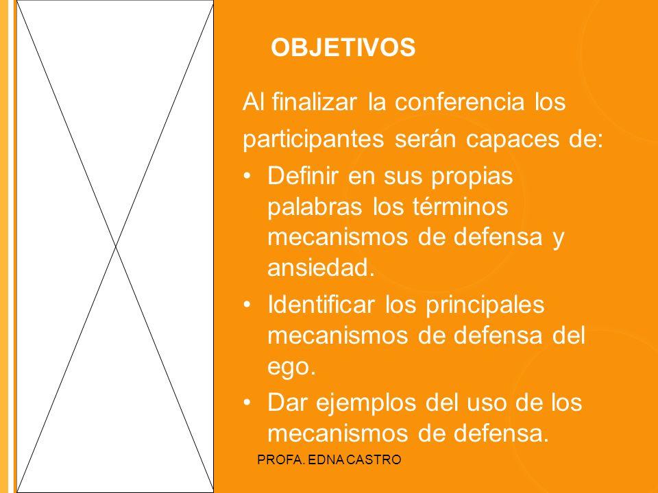 Click to edit Master title style PROFA. EDNA CASTRO OBJETIVOS Al finalizar la conferencia los participantes serán capaces de: Definir en sus propias p