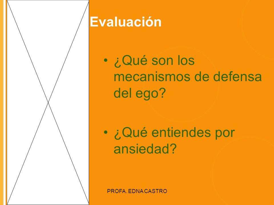Click to edit Master title style PROFA. EDNA CASTRO Evaluación ¿Qué son los mecanismos de defensa del ego? ¿Qué entiendes por ansiedad?