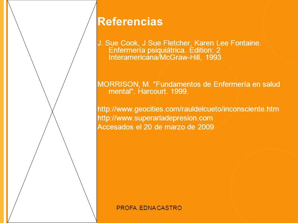 Click to edit Master title style PROFA. EDNA CASTRO Referencias J. Sue Cook, J Sue Fletcher, Karen Lee Fontaine. Enfermería psiquiátrica. Edition: 2 I