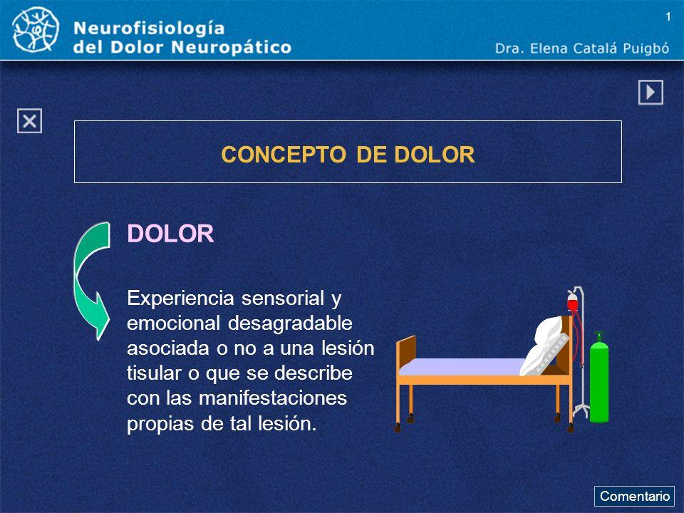 Comentario DOLOR CONCEPTO DE DOLOR Experiencia sensorial y emocional desagradable asociada o no a una lesión tisular o que se describe con las manifes