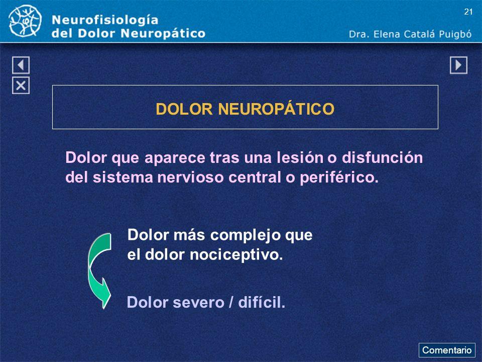 DOLOR NEUROPÁTICO Dolor que aparece tras una lesión o disfunción del sistema nervioso central o periférico. Dolor severo / difícil. Dolor más complejo