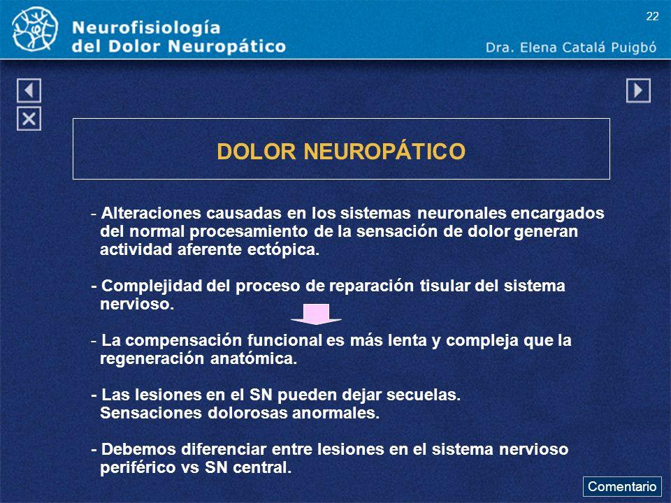 DOLOR NEUROPÁTICO - Alteraciones causadas en los sistemas neuronales encargados del normal procesamiento de la sensación de dolor generan actividad af