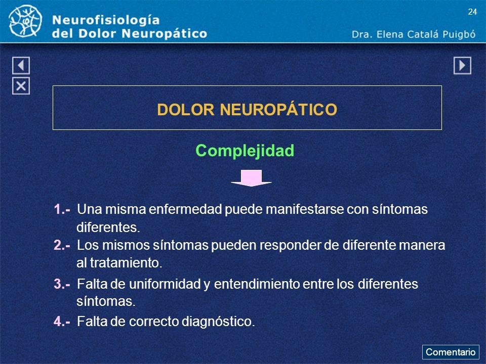 DOLOR NEUROPÁTICO Complejidad 1.- Una misma enfermedad puede manifestarse con síntomas diferentes. 2.- Los mismos síntomas pueden responder de diferen