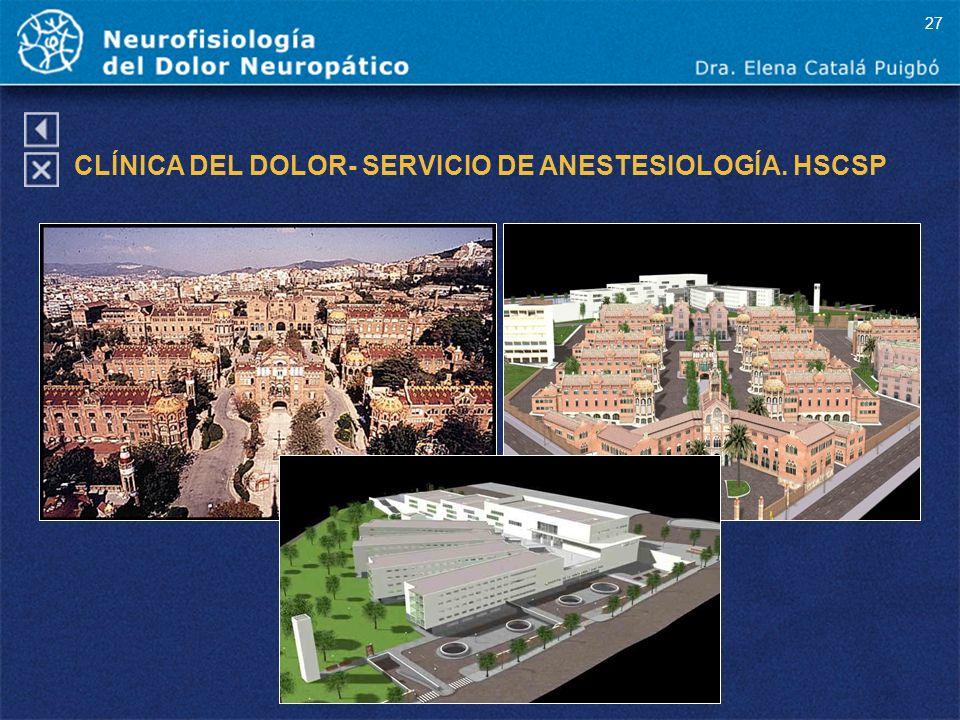 CLÍNICA DEL DOLOR- SERVICIO DE ANESTESIOLOGÍA. HSCSP 27