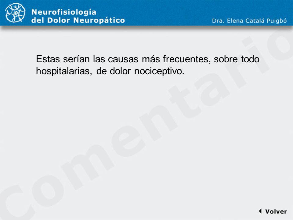 Comentario a diapo21 Estas serían las causas más frecuentes, sobre todo hospitalarias, de dolor nociceptivo.