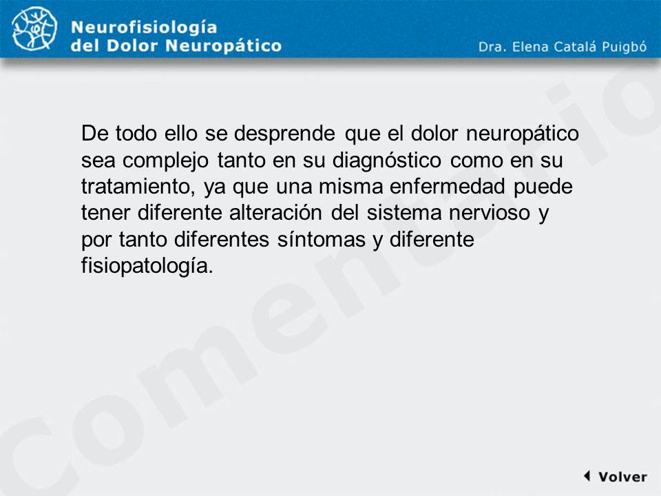 Comentario a diapo25 De todo ello se desprende que el dolor neuropático sea complejo tanto en su diagnóstico como en su tratamiento, ya que una misma