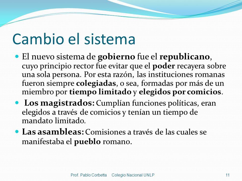 Cambio el sistema El nuevo sistema de gobierno fue el republicano, cuyo principio rector fue evitar que el poder recayera sobre una sola persona. Por