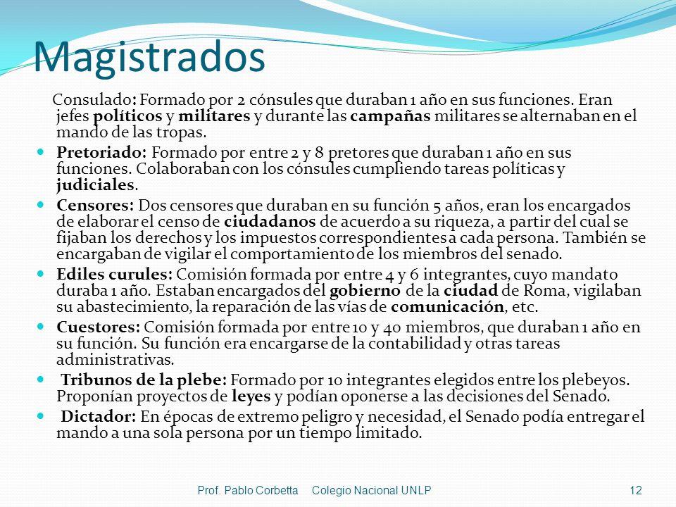Magistrados Consulado: Formado por 2 cónsules que duraban 1 año en sus funciones. Eran jefes políticos y militares y durante las campañas militares se