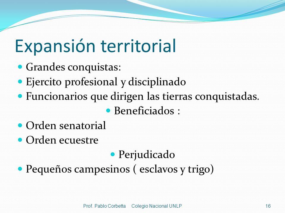Expansión territorial Grandes conquistas: Ejercito profesional y disciplinado Funcionarios que dirigen las tierras conquistadas. Beneficiados : Orden