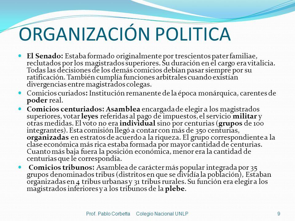 ORGANIZACIÓN POLITICA El Senado: Estaba formado originalmente por trescientos pater familiae, reclutados por los magistrados superiores. Su duración e