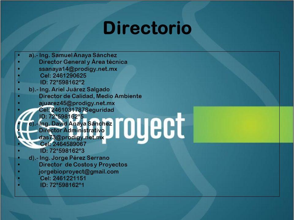 Directorio a).- Ing.