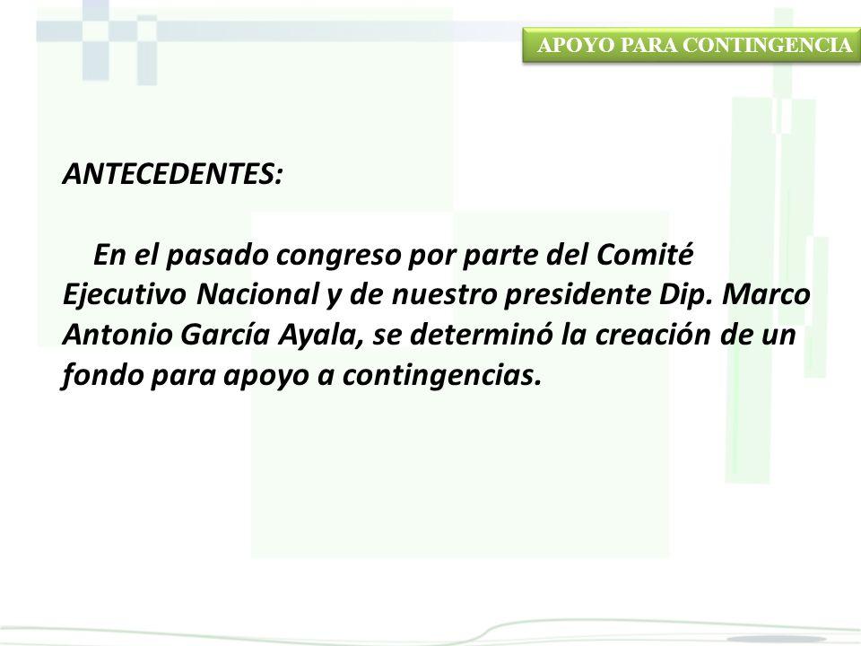 ANTECEDENTES: En el pasado congreso por parte del Comité Ejecutivo Nacional y de nuestro presidente Dip.