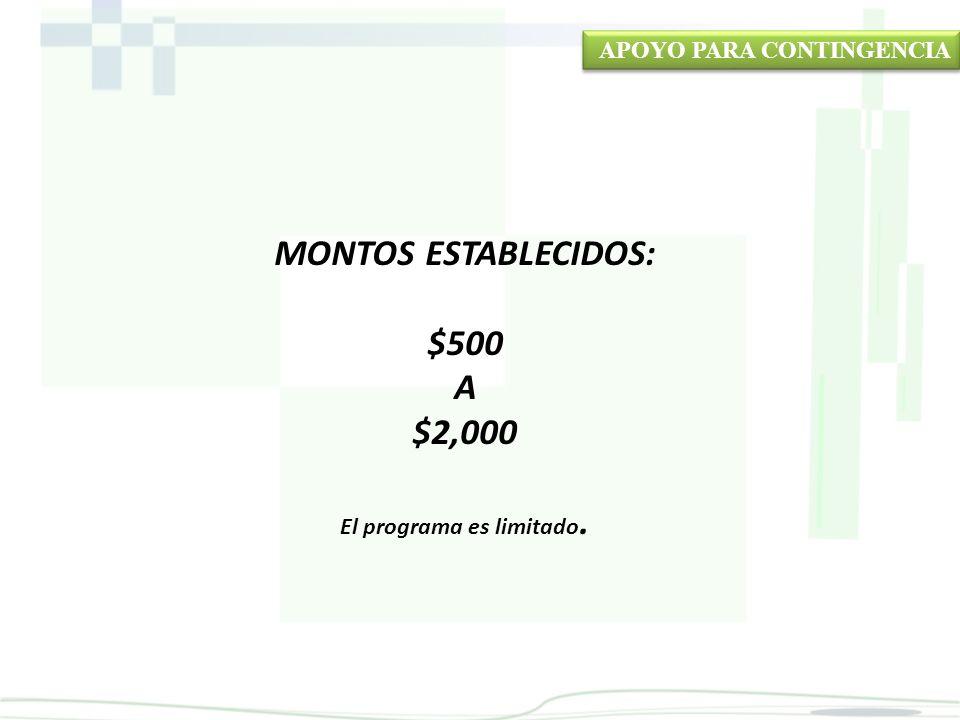 MONTOS ESTABLECIDOS: $500 A $2,000 El programa es limitado. APOYO PARA CONTINGENCIA