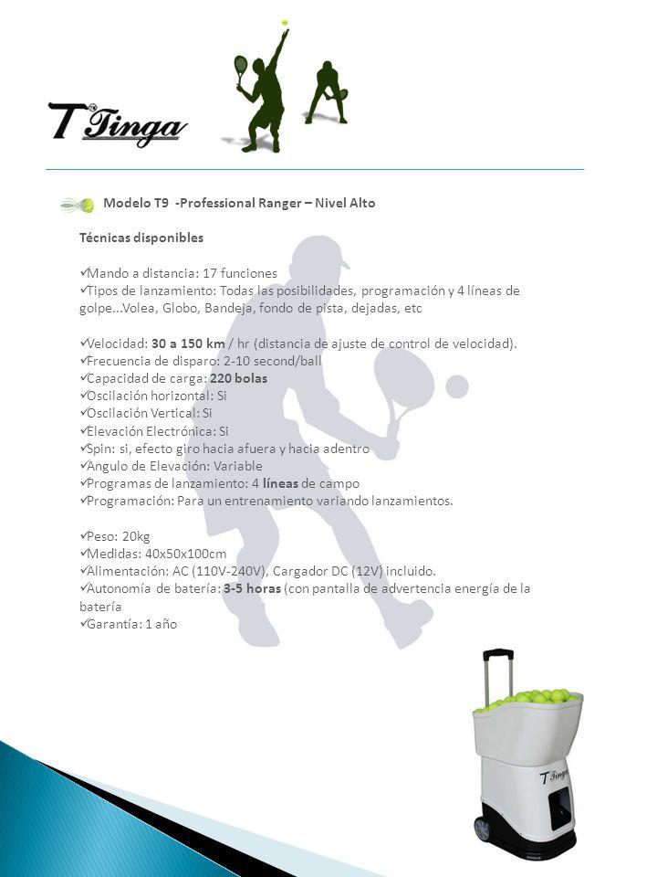Modelo T9 -Professional Ranger – Nivel Alto Técnicas disponibles Mando a distancia: 17 funciones Tipos de lanzamiento: Todas las posibilidades, progra