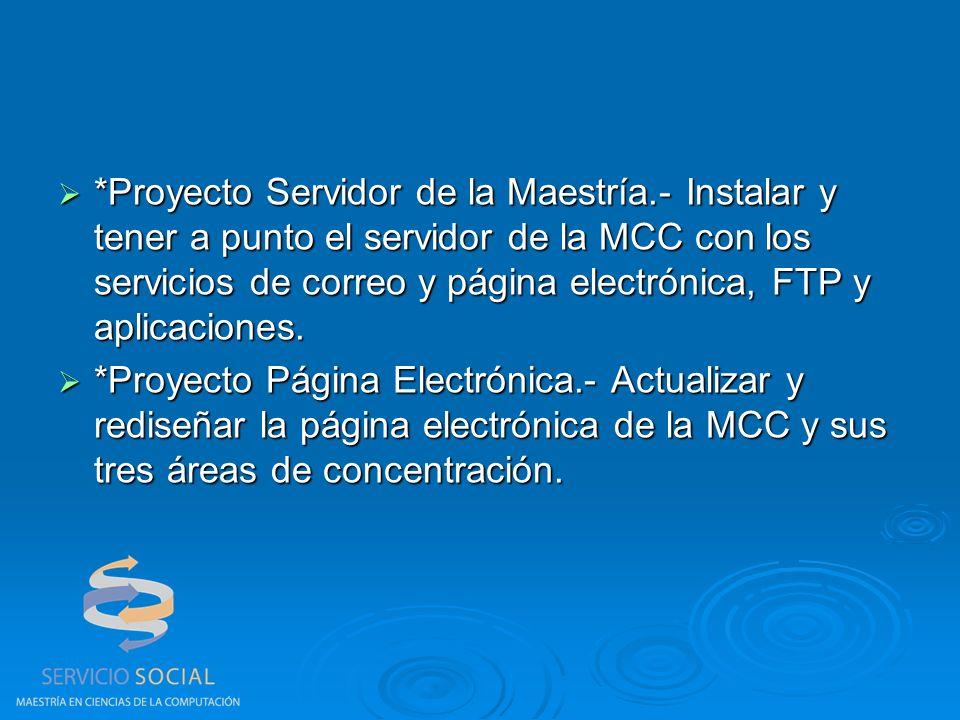 *Proyecto Servidor de la Maestría.- Instalar y tener a punto el servidor de la MCC con los servicios de correo y página electrónica, FTP y aplicaciones.