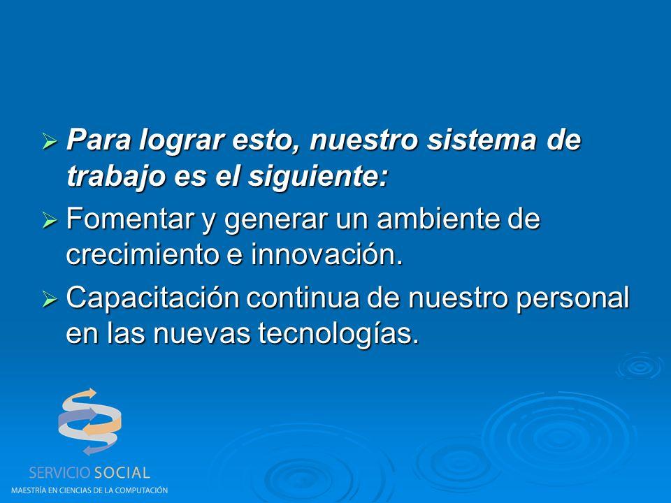 Para lograr esto, nuestro sistema de trabajo es el siguiente: Para lograr esto, nuestro sistema de trabajo es el siguiente: Fomentar y generar un ambiente de crecimiento e innovación.