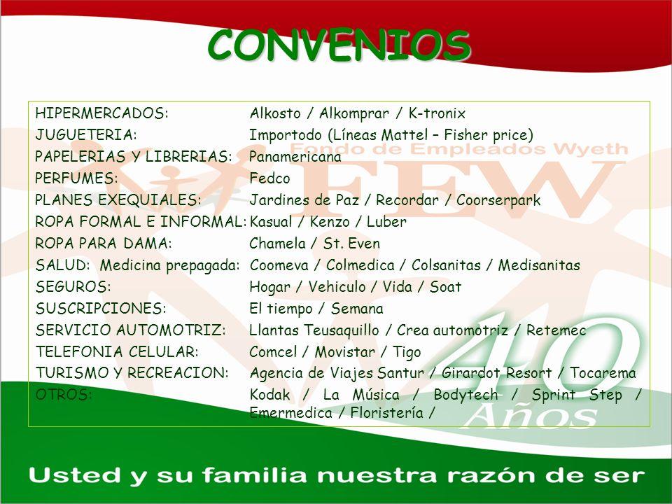 CONVENIOS HIPERMERCADOS: Alkosto / Alkomprar / K-tronix JUGUETERIA:Importodo (Líneas Mattel – Fisher price) PAPELERIAS Y LIBRERIAS:Panamericana PERFUM