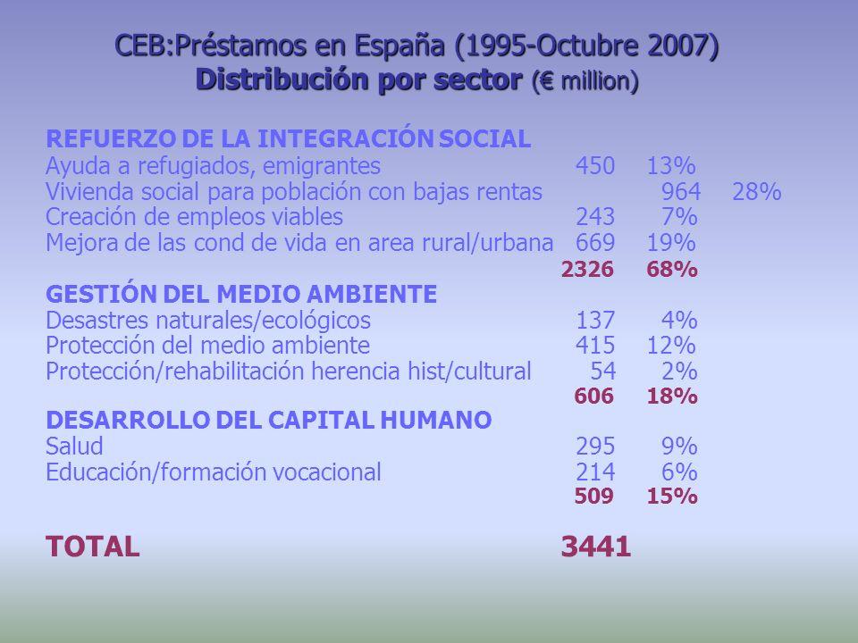 CEB:Préstamos en España (1995-Octubre 2007) Distribución por sector ( million) REFUERZO DE LA INTEGRACIÓN SOCIAL Ayuda a refugiados, emigrantes 45013%