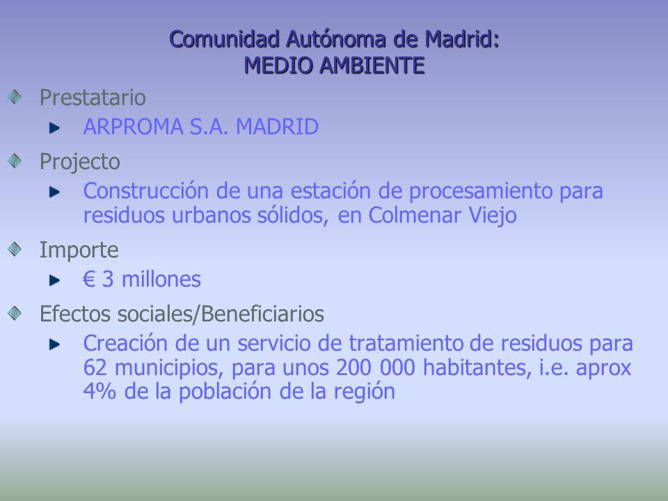 Comunidad Autónoma de Madrid: MEDIO AMBIENTE Prestatario ARPROMA S.A. MADRID Projecto Construcción de una estación de procesamiento para residuos urba