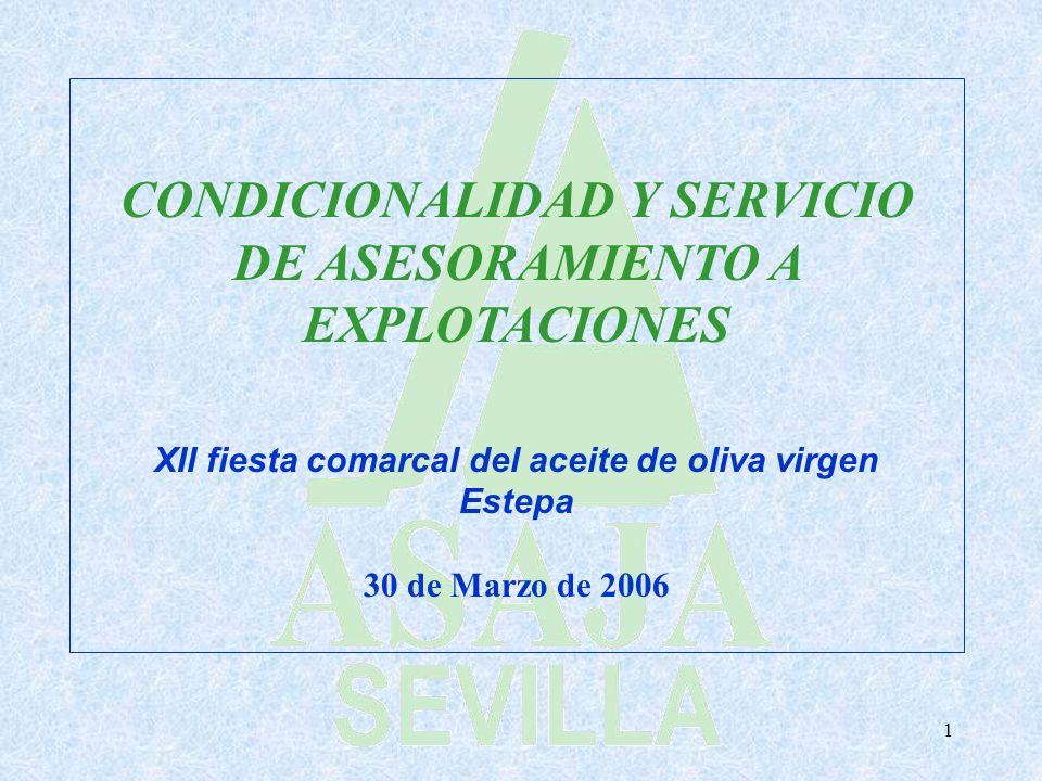1 CONDICIONALIDAD Y SERVICIO DE ASESORAMIENTO A EXPLOTACIONES XII fiesta comarcal del aceite de oliva virgen Estepa 30 de Marzo de 2006