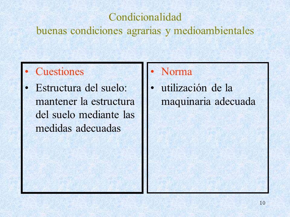 10 Condicionalidad buenas condiciones agrarias y medioambientales Cuestiones Estructura del suelo: mantener la estructura del suelo mediante las medid
