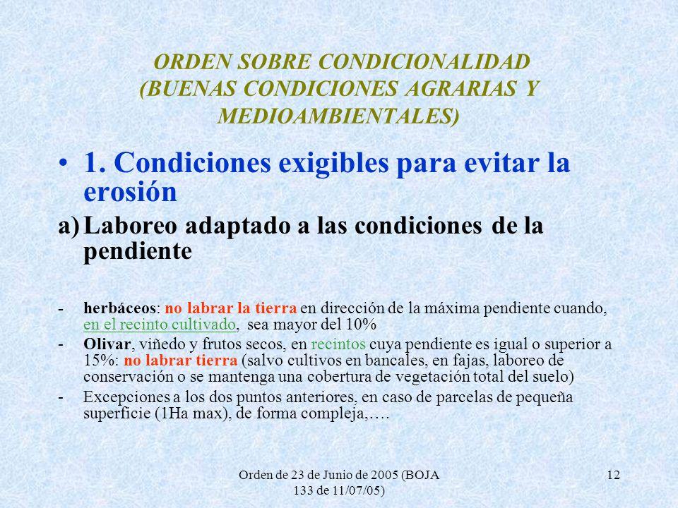 Orden de 23 de Junio de 2005 (BOJA 133 de 11/07/05) 12 ORDEN SOBRE CONDICIONALIDAD (BUENAS CONDICIONES AGRARIAS Y MEDIOAMBIENTALES) 1. Condiciones exi