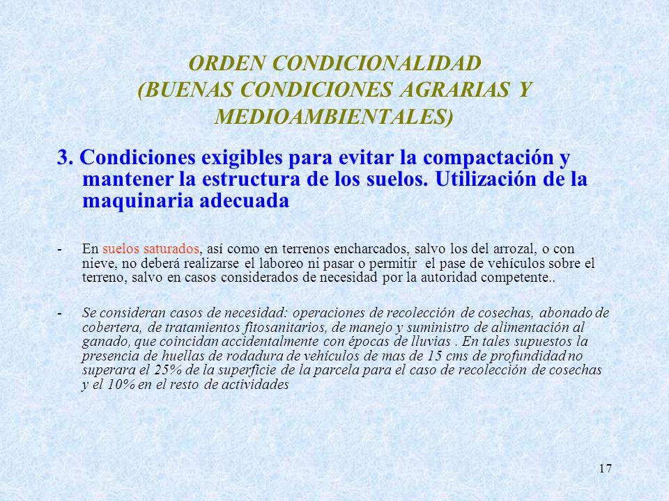 17 ORDEN CONDICIONALIDAD (BUENAS CONDICIONES AGRARIAS Y MEDIOAMBIENTALES) 3. Condiciones exigibles para evitar la compactación y mantener la estructur
