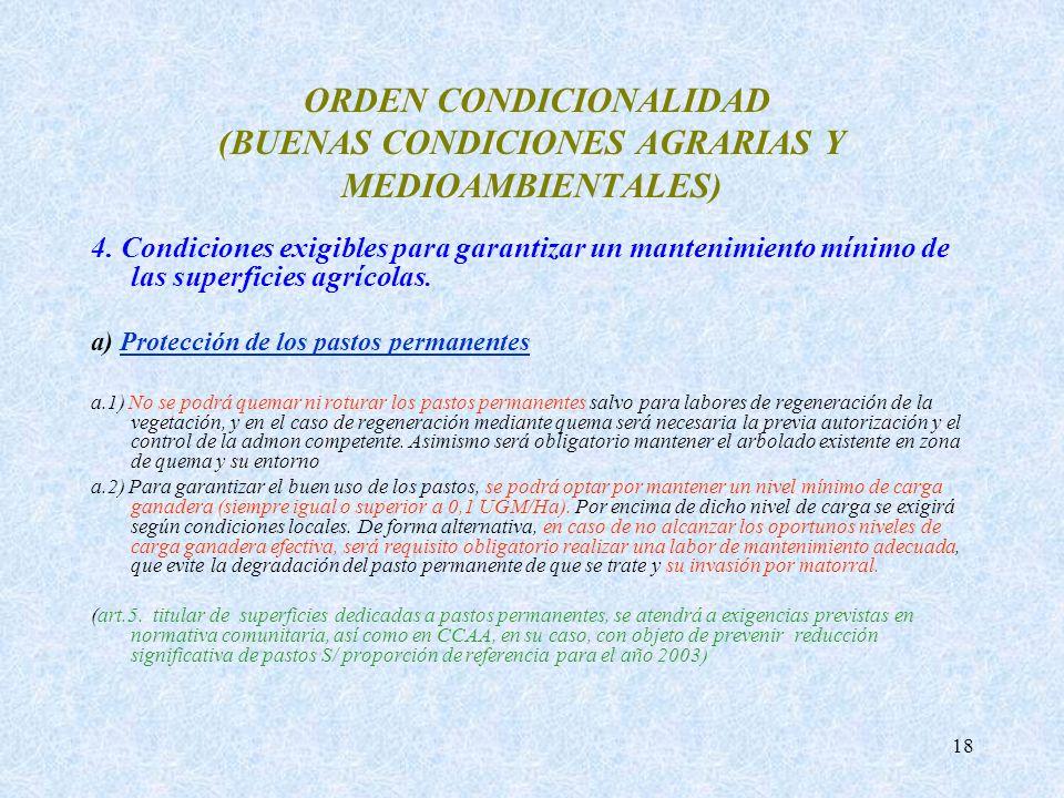 18 ORDEN CONDICIONALIDAD (BUENAS CONDICIONES AGRARIAS Y MEDIOAMBIENTALES) 4. Condiciones exigibles para garantizar un mantenimiento mínimo de las supe