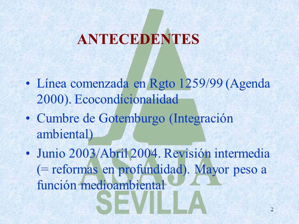 2 ANTECEDENTES Línea comenzada en Rgto 1259/99 (Agenda 2000). Ecocondicionalidad Cumbre de Gotemburgo (Integración ambiental) Junio 2003/Abril 2004. R