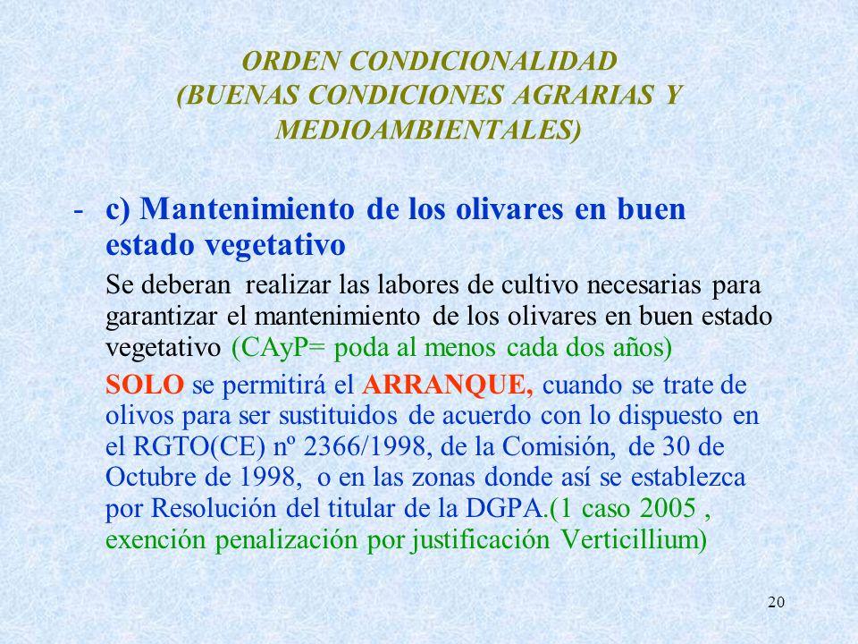 20 ORDEN CONDICIONALIDAD (BUENAS CONDICIONES AGRARIAS Y MEDIOAMBIENTALES) -c) Mantenimiento de los olivares en buen estado vegetativo Se deberan reali
