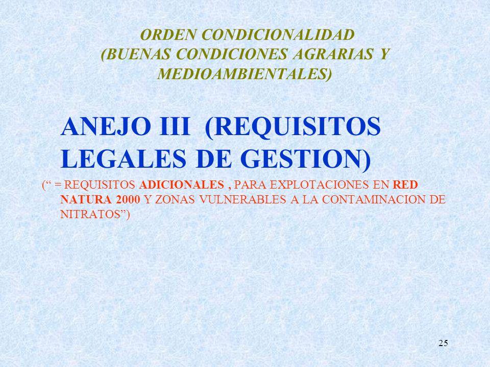 25 ORDEN CONDICIONALIDAD (BUENAS CONDICIONES AGRARIAS Y MEDIOAMBIENTALES) ANEJO III (REQUISITOS LEGALES DE GESTION) ( = REQUISITOS ADICIONALES, PARA E