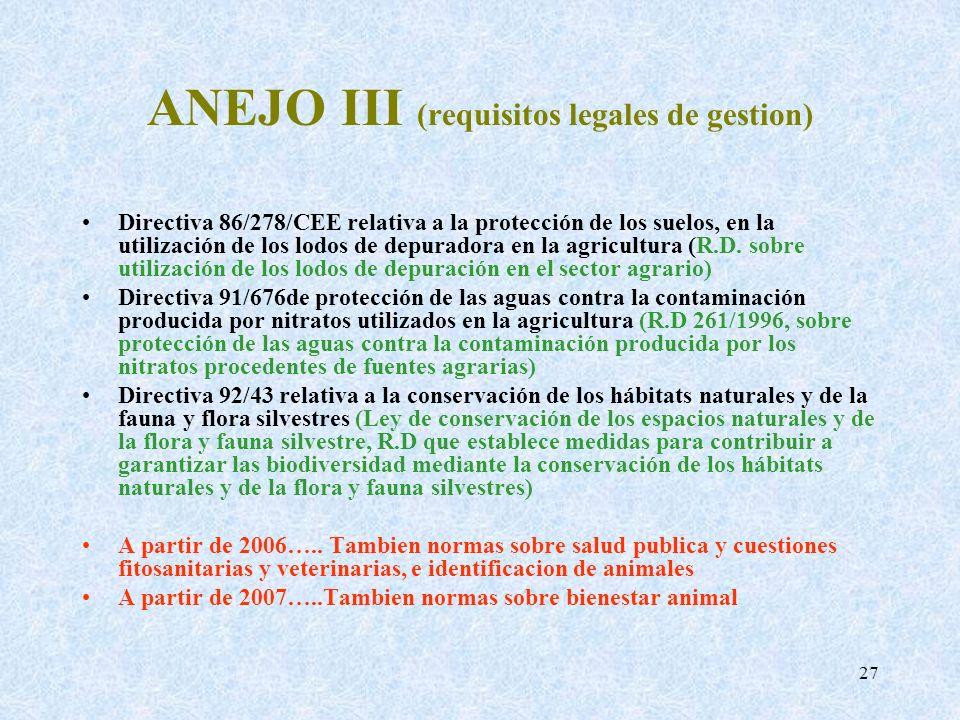 27 ANEJO III (requisitos legales de gestion) Directiva 86/278/CEE relativa a la protección de los suelos, en la utilización de los lodos de depuradora