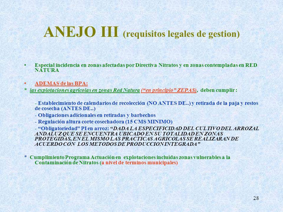 28 ANEJO III (requisitos legales de gestion) Especial incidencia en zonas afectadas por Directiva Nitratos y en zonas contempladas en RED NATURA ADEMA