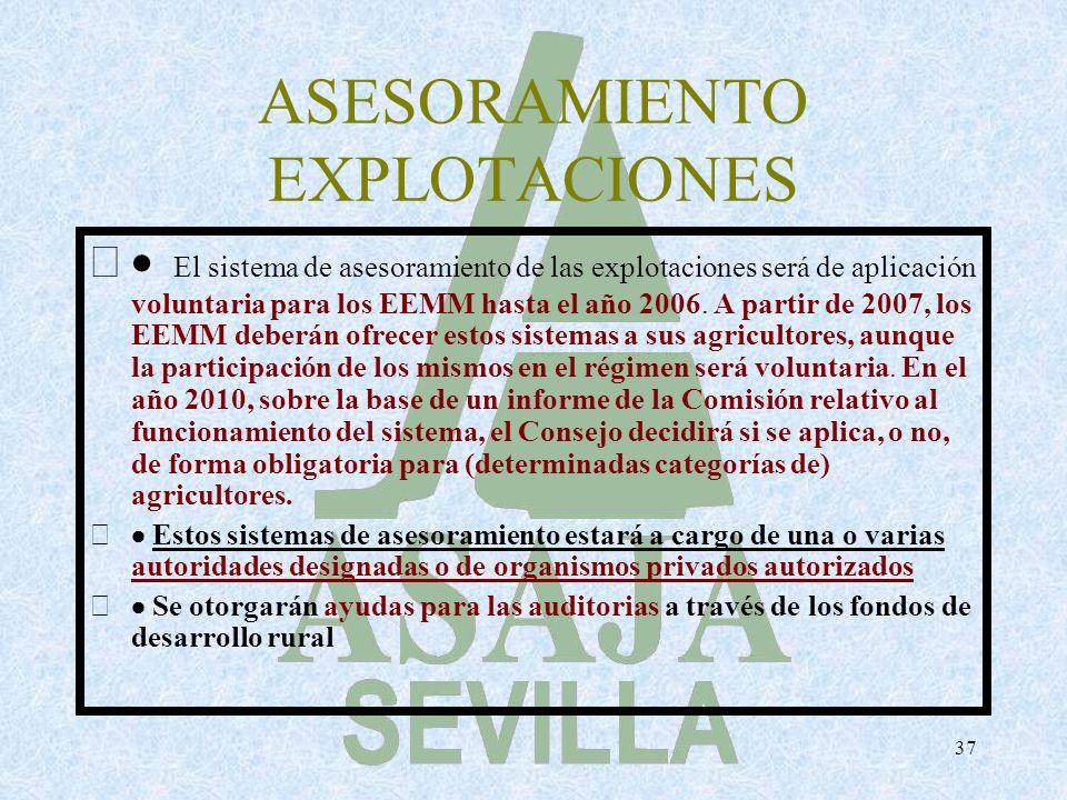 37 ASESORAMIENTO EXPLOTACIONES El sistema de asesoramiento de las explotaciones será de aplicación voluntaria para los EEMM hasta el año 2006. A parti