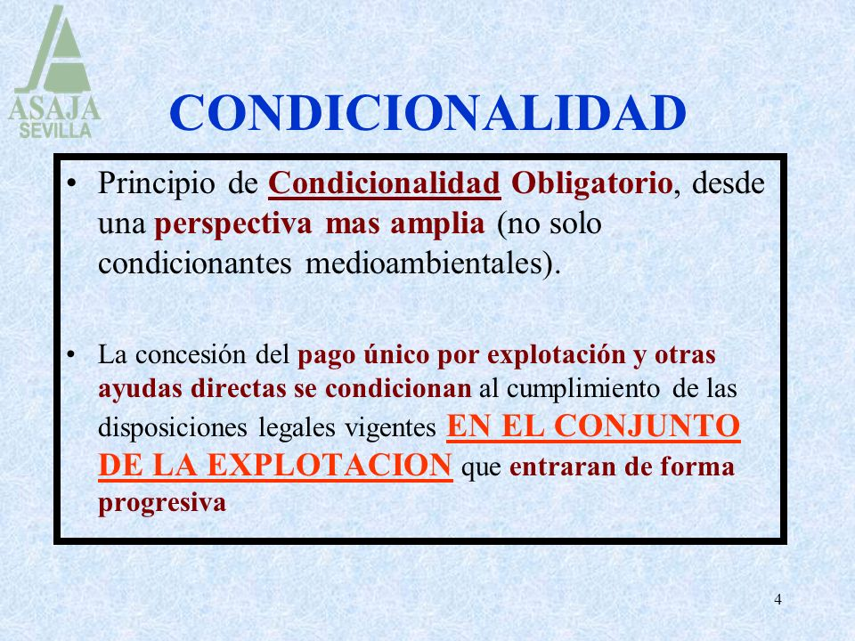 4 CONDICIONALIDAD Principio de Condicionalidad Obligatorio, desde una perspectiva mas amplia (no solo condicionantes medioambientales). La concesión d