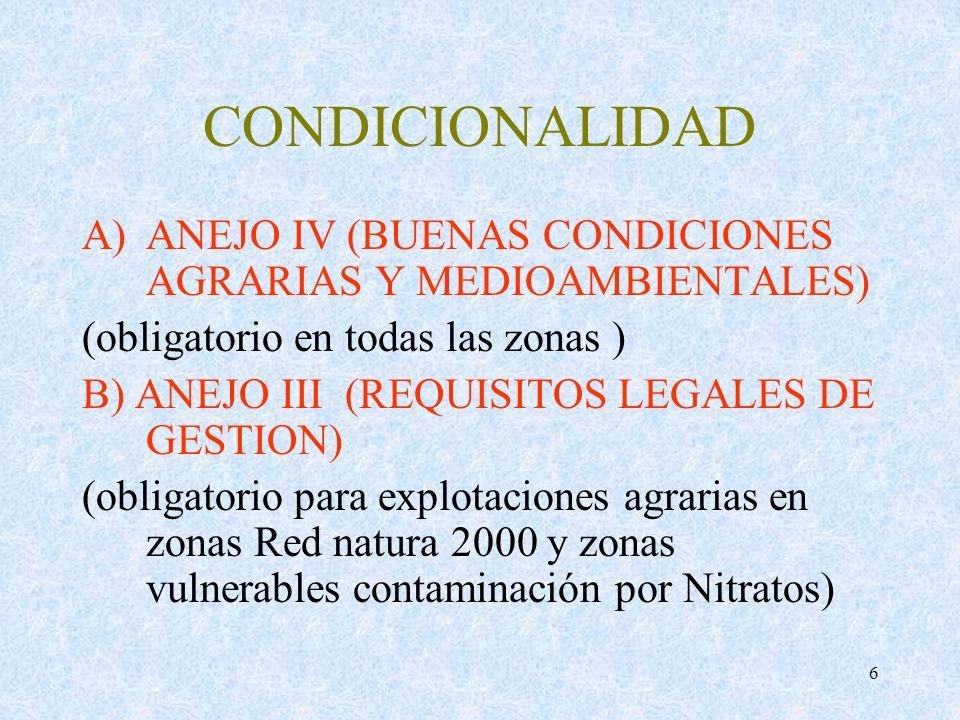6 CONDICIONALIDAD A)ANEJO IV (BUENAS CONDICIONES AGRARIAS Y MEDIOAMBIENTALES) (obligatorio en todas las zonas ) B) ANEJO III (REQUISITOS LEGALES DE GE